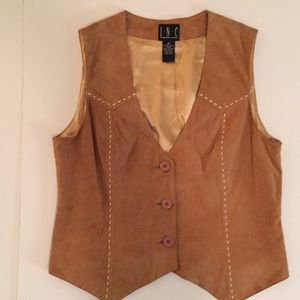 INC genuine leather tan suede vest with stitching